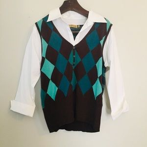 Notations argyle Blouse. Size XL